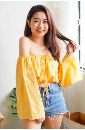 Out For Fun Basic Yellow Off Shoulder Top