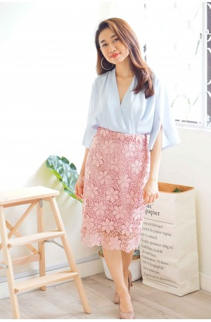 (BACKORDER) All Of Me Lace Crochet Skirt in Pink