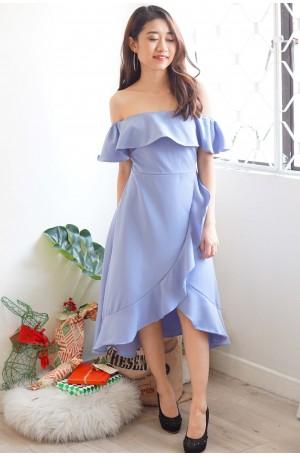 Flow of Romance Off Shoulder Ruffle Dress in Purple