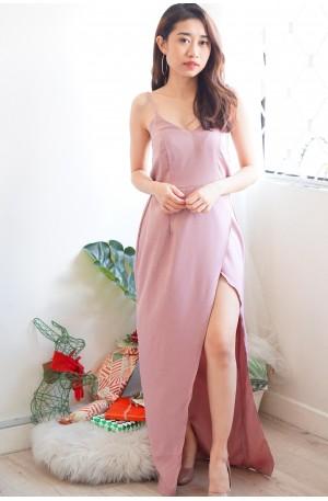 Wishful Thinker Plain Maxi Slit Dress in Pink