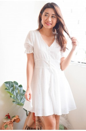 (BACKORDER) Everyone's Sweetheart White Lace Skater Dress