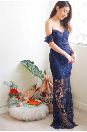 Regal Beauty Dark Blue Off Shoulder Lace Maxi Dress