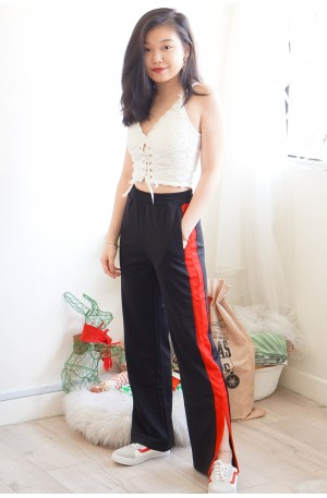 Full Control Black Pants with Red Slits