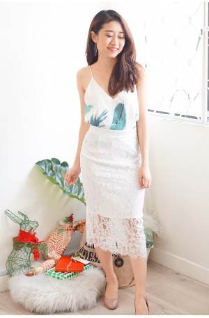 Little To Love Lace Skirt in White