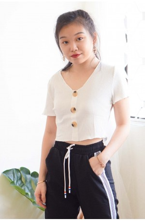Pure and Bare Button Crop Top in White