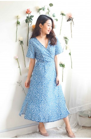 Giving Love Blue Floral Self Tied Midi Dress