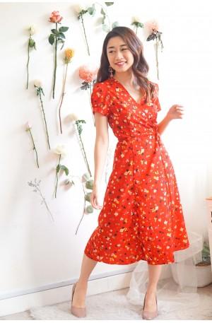 (BACKORDER) Prosper Into Love Red Self Tied Midi Dress