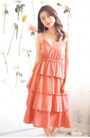 (BACKORDER) Keep Wanting Layered Dress in Dark Coral