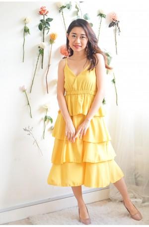 (BACKORDER) Keep Wanting Layered Dress in Mustard Yellow