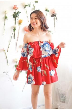 Love Potion Floral Off Shoulder Jumpsuit in Red