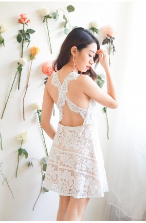 Cold Hearts White Lace Crossback Dress