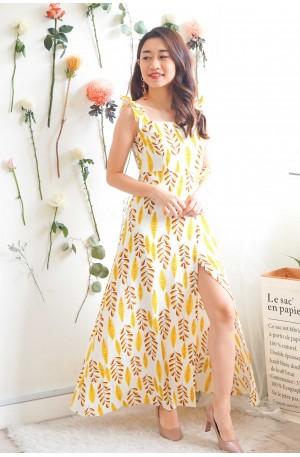 Take My Hand Yellow Floral Cutout Maxi Dress
