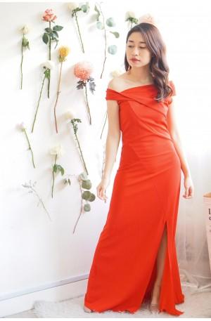 Posh Lady Red Off Shoulder Maxi Dress