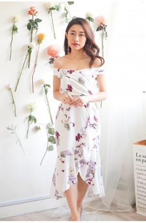 (BACKORDER) Faith Reblooms Floral Fishtail Dress in White