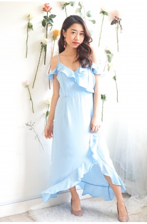 Chance Upon You Frills Dress in Light Blue