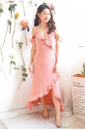 Chance Upon You Frills Dress in Rose Pink