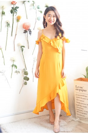 (BACKORDER) Chance Upon You Frills Dress in Mustard Yellow
