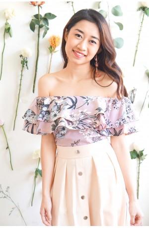 Come Undone Pink Floral Off Shoulder Top