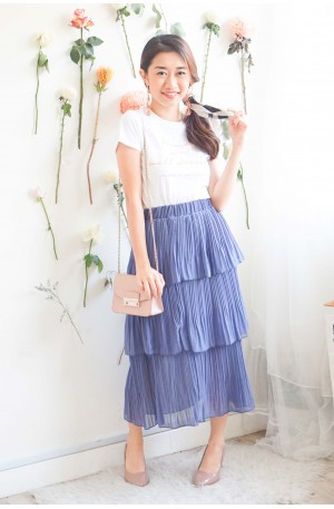 Waves After Waves Layered Skirt in Blue