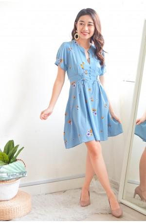 (BACKORDER) Fond of Kindness Blue Floral Lace Up Dress