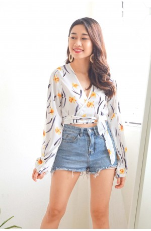Full Spring White Floral Self Wrap Top