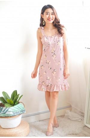 Sucker for Romance Pink Floral Ribbon Dress