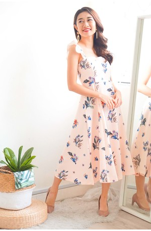 3c76f0680507e (BACKORDER) Mingling in Spring Midi Floral Dress in Pink
