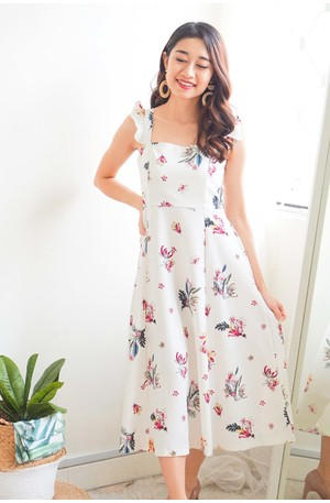 650acaa7b5051 (BACKORDER) Mingling in Spring Midi Floral Dress in White