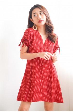 (BACKORDER) Stay Natural Red Polka Dot Dress