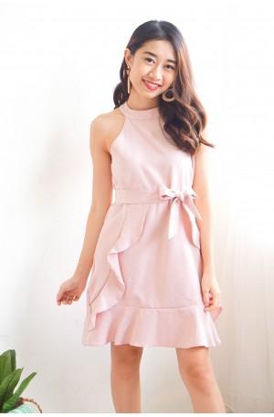 (BACKORDER) Love Alive Halter Neck Ruffle Dress in Pink