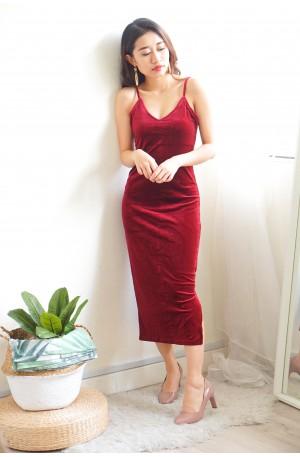 Lux and Lust Maroon Velvet Bodycon Dress
