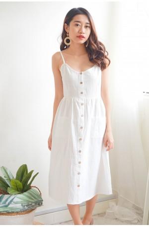 (BACKORDER) Down to Earth Midi Dress in White