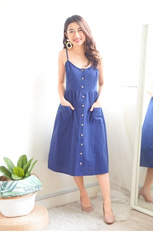 (BACKORDER) Down to Earth Midi Dress in Blue