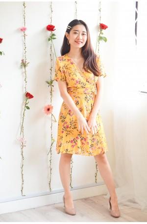 Kissing Faded Dark Yellow Floral Self Wrap Dress