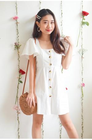 (BACKORDER) Cotton Damn Puffy Shoulder Dress in White