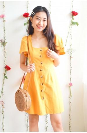(BACKORDER) Cotton Damn Puffy Shoulder Dress in Yellow