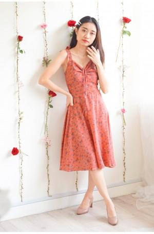 (BACKORDER) Sweet Twirls Red Floral Ribbon Dress