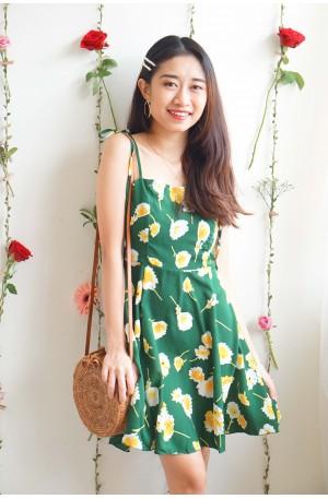 (BACKORDER) Sweet Silence Green Floral Ribbon Dress