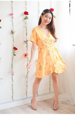 Gold Rush Yellow Floral Self Wrap Dress