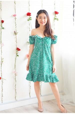 Delicate Not Soft Green Off Shoulder Floral Dress