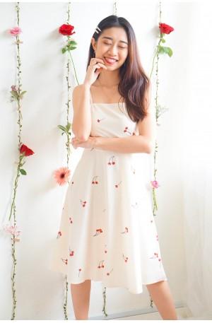 (BACKORDER) Little Wild Hearts Beige Cherry Dress