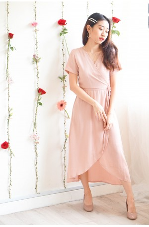 Hold Me Tight Self Wrap Maxi Dress in Pink