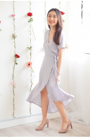 (BACKORDER) Hold Me Tight Self Wrap Maxi Dress in Lilac