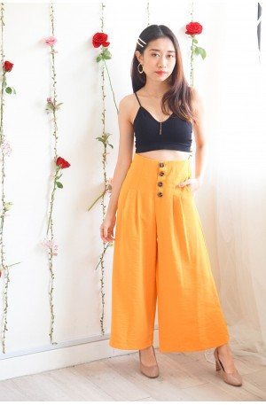 (BACKORDER) Sunny Island Vibes Yellow Button Culottes