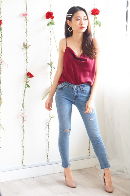 Fancy Schmancy Satin Top in Maroon