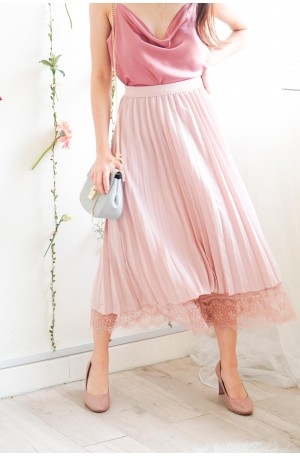State of Fantasy Pink Lace Pleated Skirt