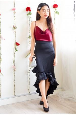 High Society Black Satin Bodycon Skirt