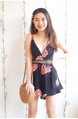 Flirty Waves Black Floral Bareback Jumpsuit