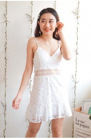 Pixi's Aura White Lace Cutout Dress