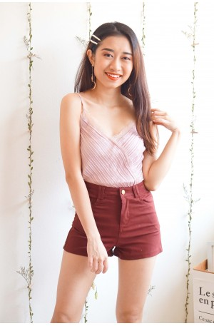 At Your Touch Pleated Camisole Lace Top in Pink